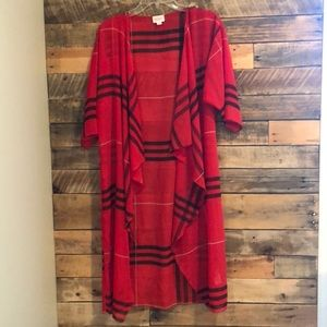 LuLaRoe red plaid long cardigan/ shawl